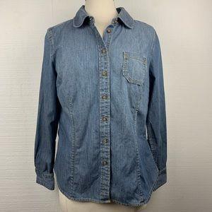 Boden Blue Denim Button Front Long Sleeve Shirt